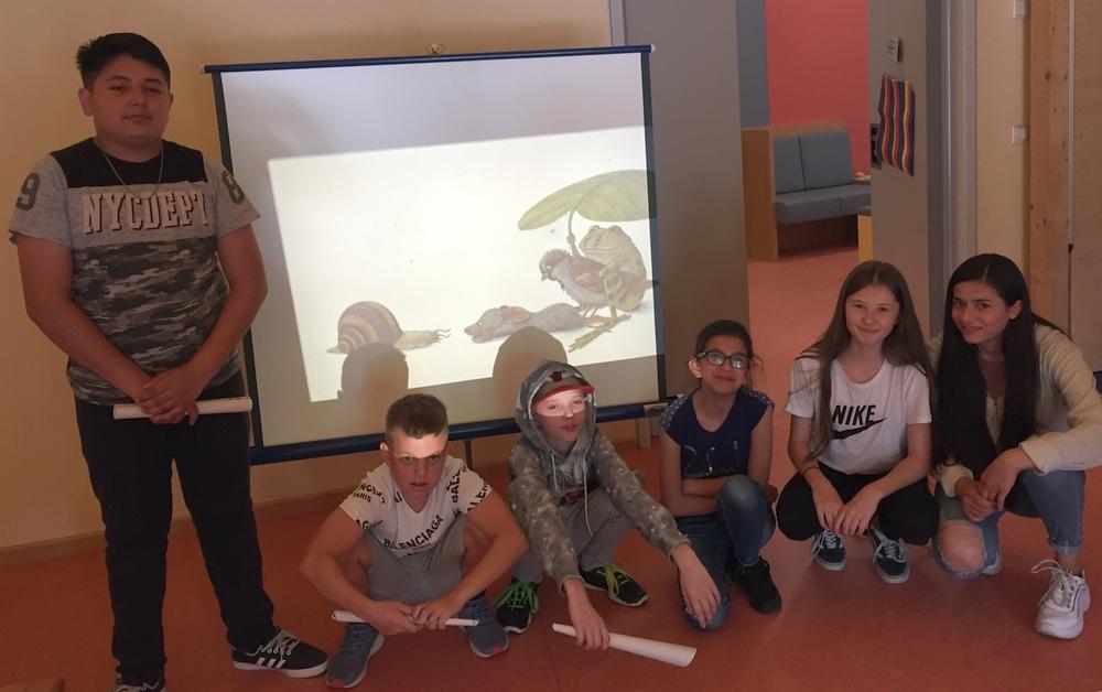 Mit Maus, Frosch, Schnecke und Spatz zu Besuch in der KITA am Bügel.